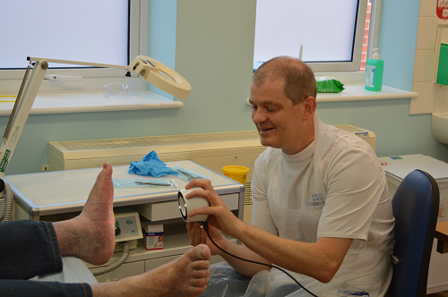 Podiatrist Nigel Baggaley Derbyshire Community Health Services NHS Foundation Trust using Silhouette at Ripley Hospital
